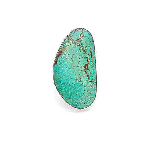 Bague ovale en argent massif et pierre de turquoise