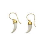 Boucles d'oreilles dent en vermeil-perle de jade