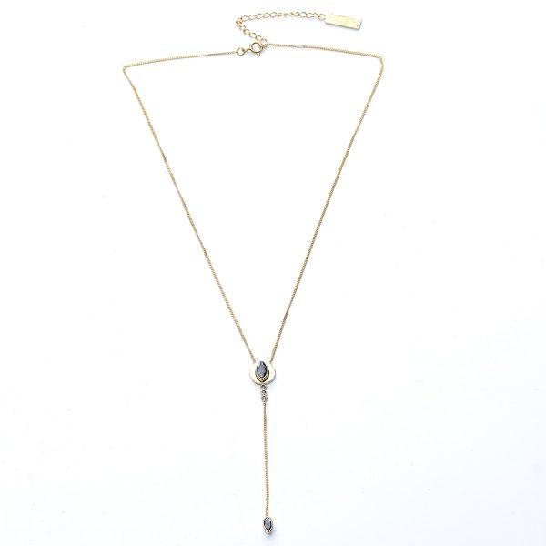 Collier-en-vermeil-(argent-massif-plaqué-or-18-carats)-et-quartz-noir