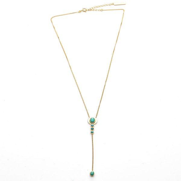 Collier en vermeil et pierre de turquoise (argent massif plaqué or 18 carats)