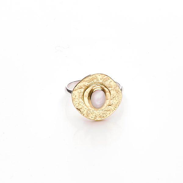 """Bague """"Perle de Lune"""" en vermeil 18 carats et Nacre"""