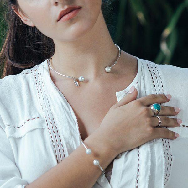 Collier jonc perles de nacre argent massif Perle de Jade