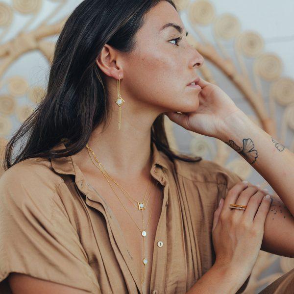 Perle de Jade bague rectangulaire en vermeil
