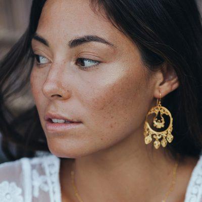 Boucles d'oreilles baroques en vermeil Perle de Jade