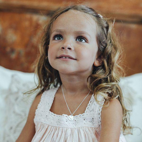 Collier enfant coeur argent massif Perle de Jade - Bijoux pour enfants