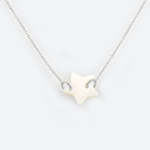 Collier étoile enfant argent massif perle de Jade
