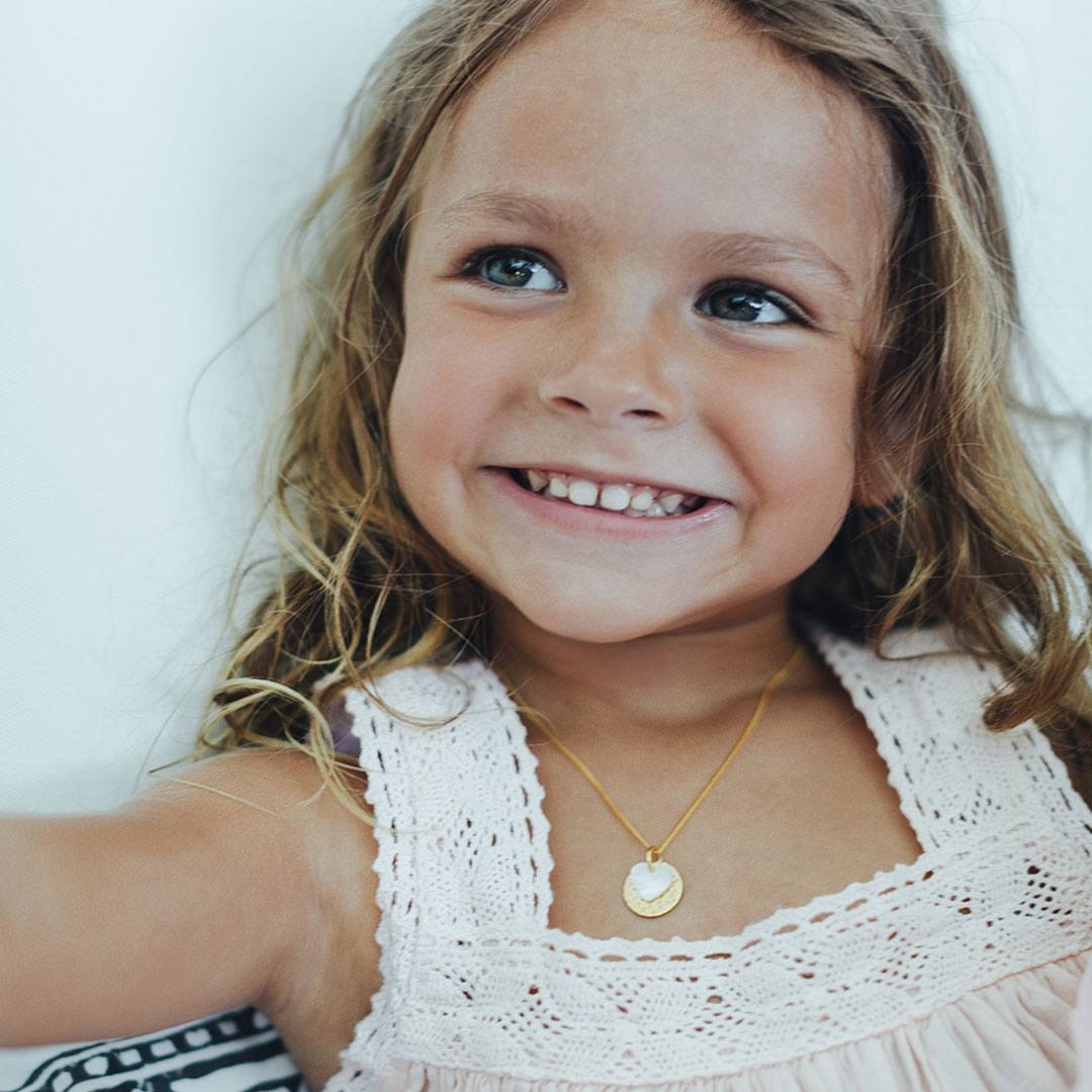 Collier enfant coeur vermeil Perle de Jade