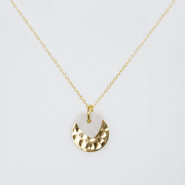 Collier enfant forme cœur vermeil Perle de Jade