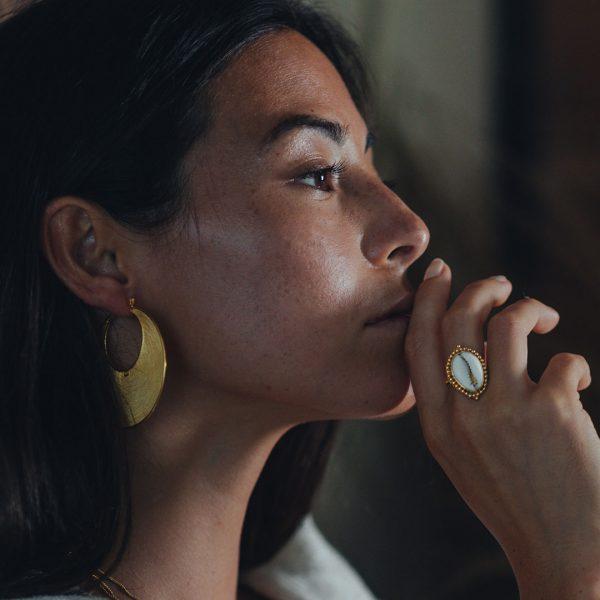 Perle de Jade créoles boucles d'oreilles vermeil striees