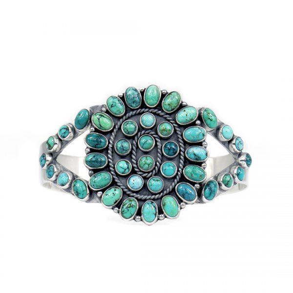 Manchette en argent massif et pierres de turquoise Perle de jade