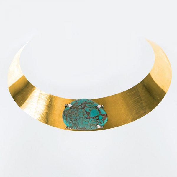 Ras de cou en bronze avec pierre de turquoise Perle de Jade