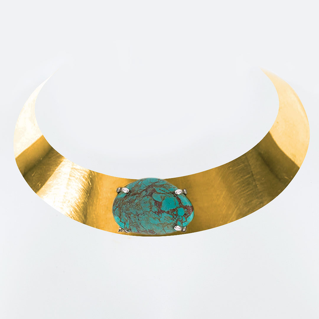Bronze choker necklace with turquoise stone