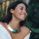 Solid silver choker necklace with turquoise stone