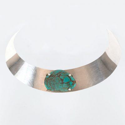Ras de cou en argent massif avec pierre de turquoise Perle de Jade