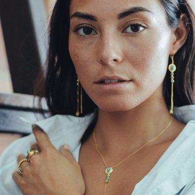 Bague ethnique vermeil et turquoise Perle de Jade