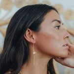 Dangly earrings in vermeil and mother-of-pearl