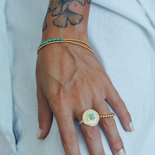 Bracelet élastique en vermeil et turquoise Perle de Jade