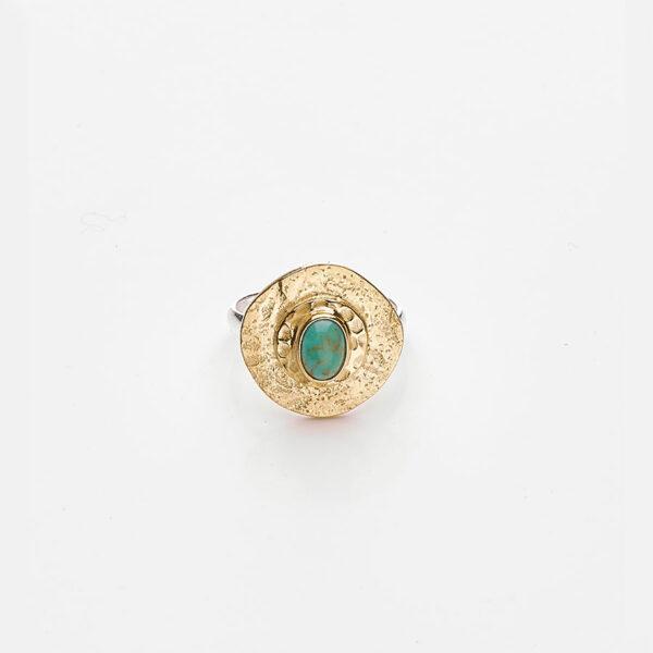 bague vermeil plaque or 18 carats pierre turquoise