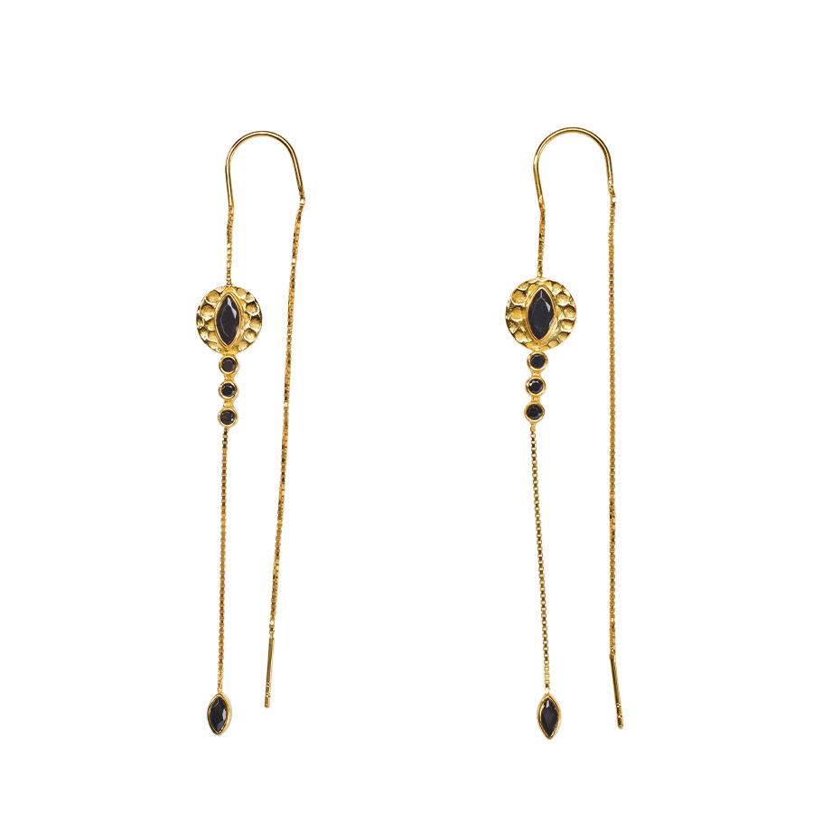 Boucles d'oreilles pendantes en vermeil plaqué or 18 carats et quartz noir