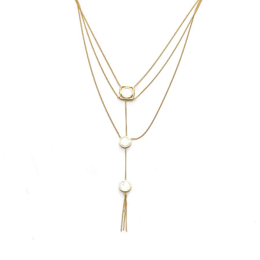 3-tiered necklace in vermeil and mother-of-pearl