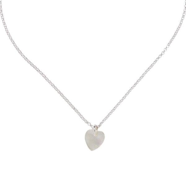 collier enfant cœur argent massif perle de jade