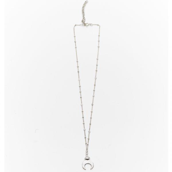 collier pendentif lune quartz blanc