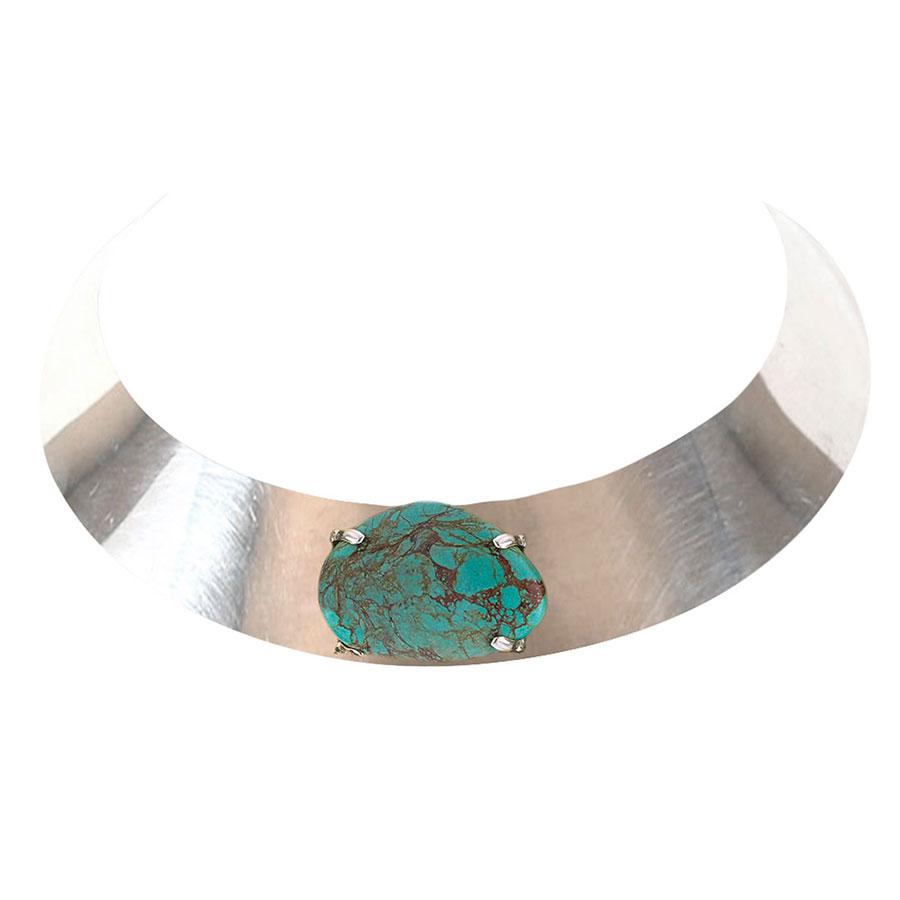 Collier ras de cou en argent massif et pierre de turquoise