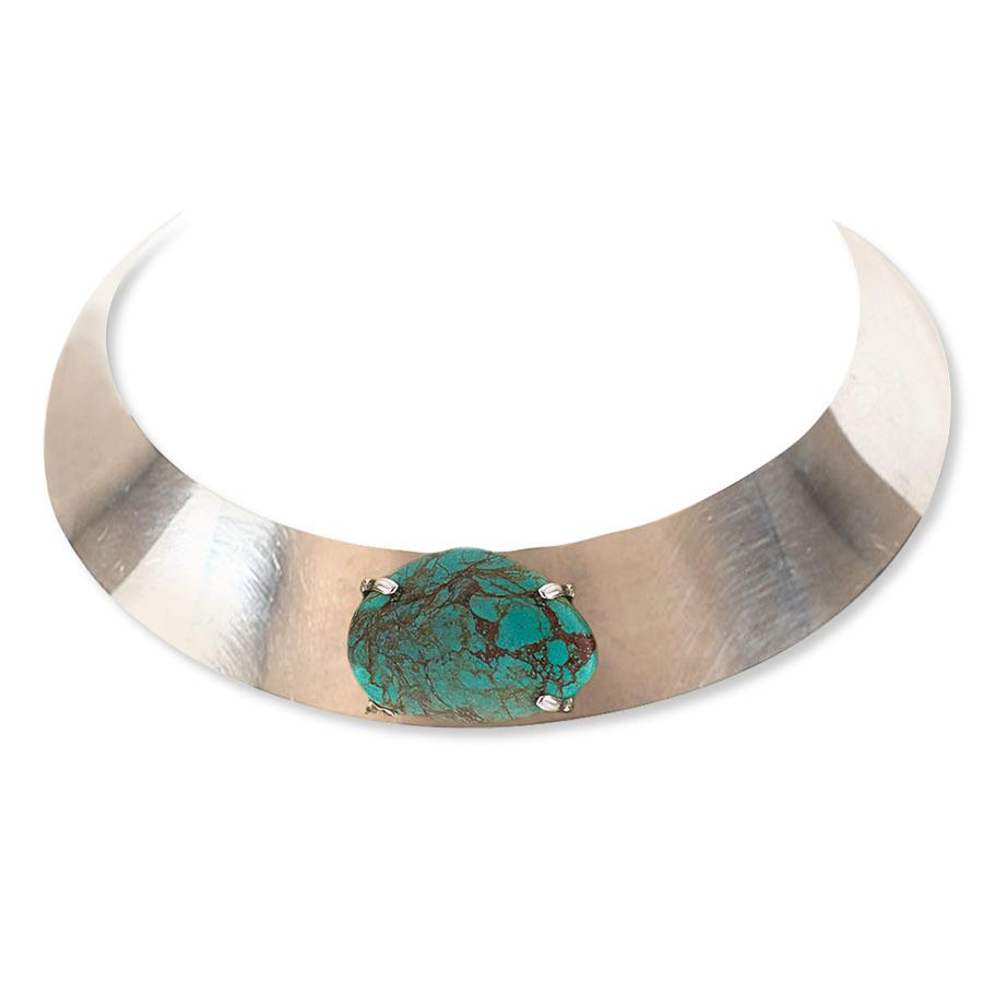 collier ras de cou argent massif pierre turquoise perle de jade