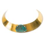 collier ras de cou bronze pierre turquoise perle de jade