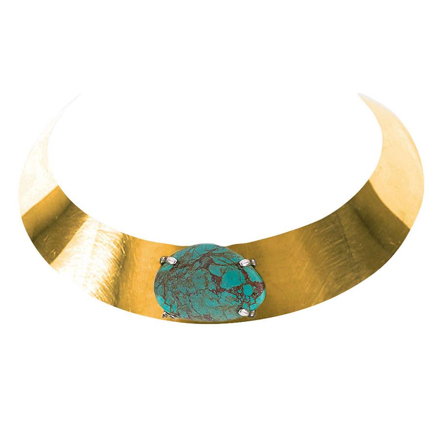 Collier ras de cou en bronze avec pierre de turquoise