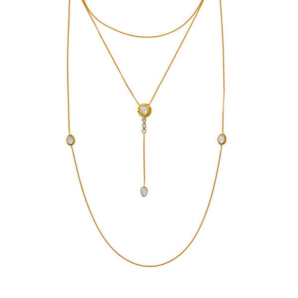 collier 3 niveaux vermeil plaqué or perle de jade