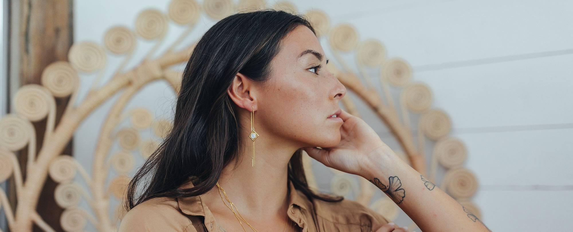 Boucles d'oreilles vermeil et argent Perle de Jade
