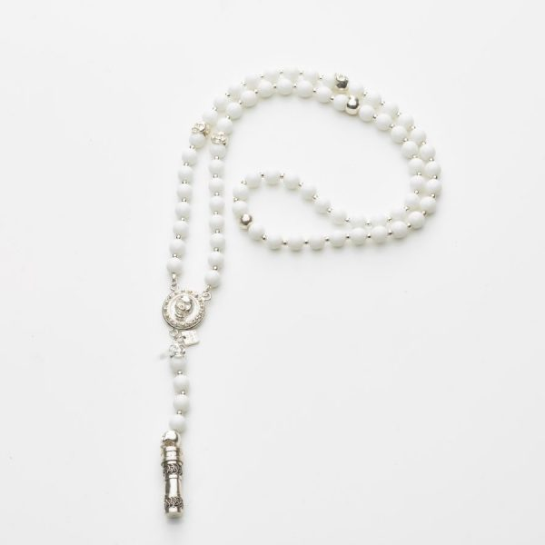 Collier Bouddhiste en pierre de Quartz blanc, Skull et Secret box en argent
