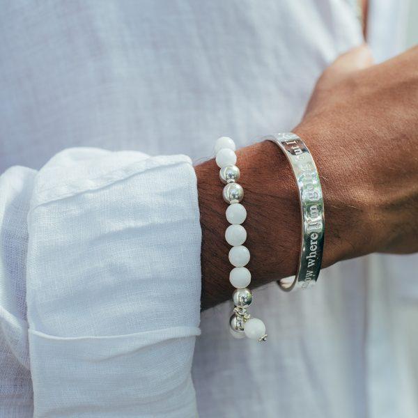 Bracelet secret onyx blanche - Perle de Jade