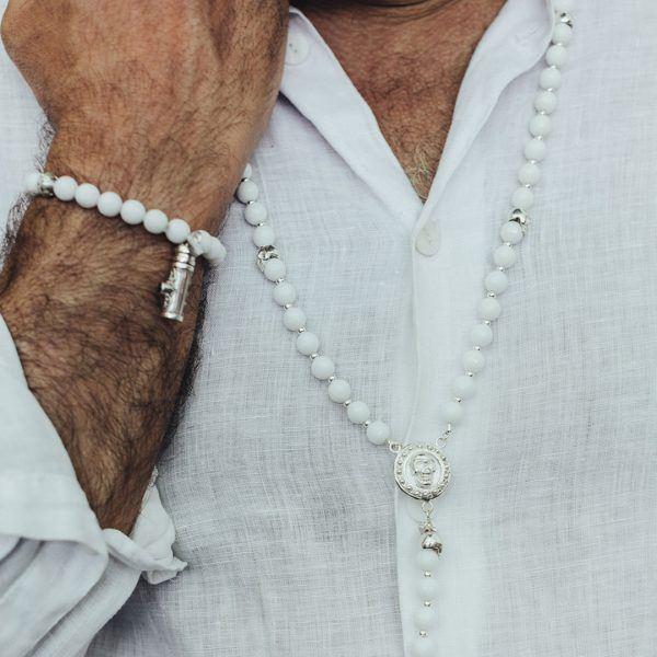 Bracelet quartz blanc Homme Secret box Perle de Jade