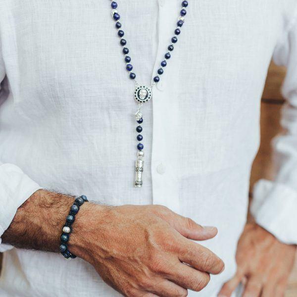 Collier bouddhiste blue lapis lazula homme Perle de Jade
