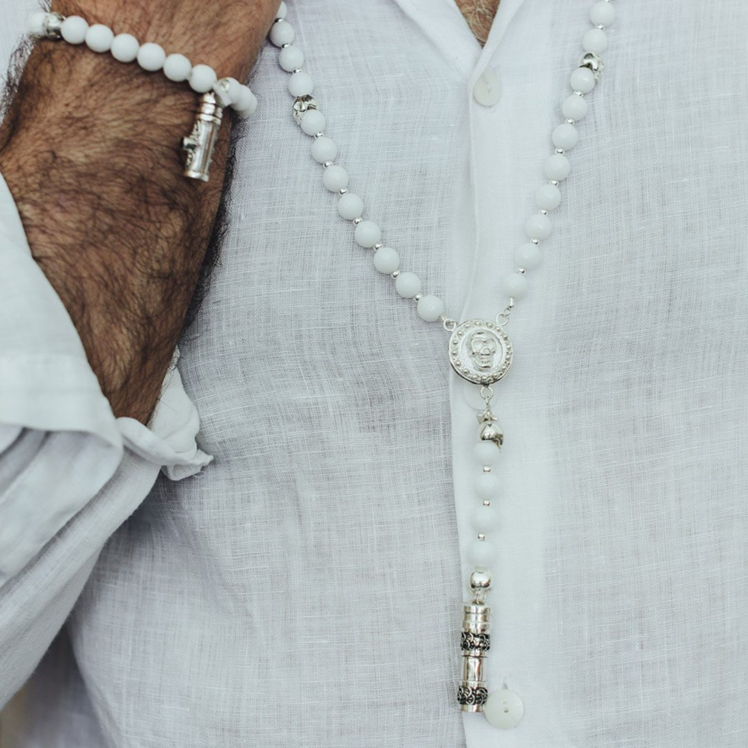Collier homme quartz blanc Perle de Jade