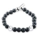 Perle de jade pierre de lave argent bracelet homme retouche