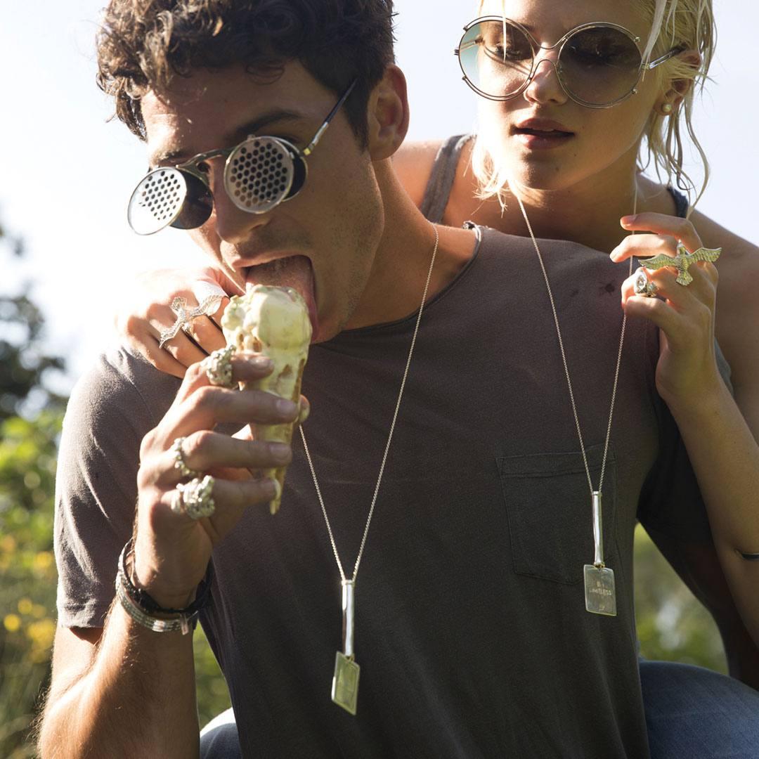 Collier unisexes en argent The Party Line Perle de Jade