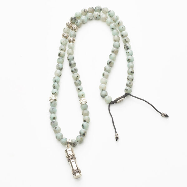collier-bouddhiste-pierre-amazonite-secret-box-argent-perle-de-jade