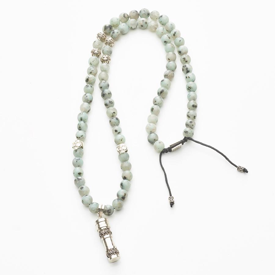 collier bouddhiste pierres d'amazonite perle de jade