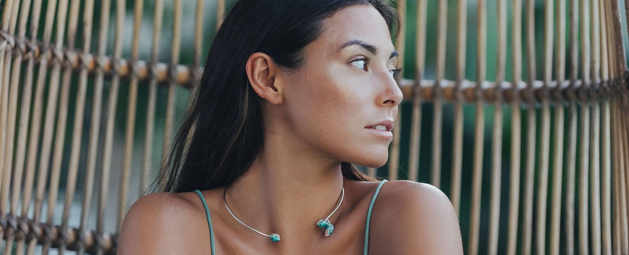 Colliers Argent perle de Jade