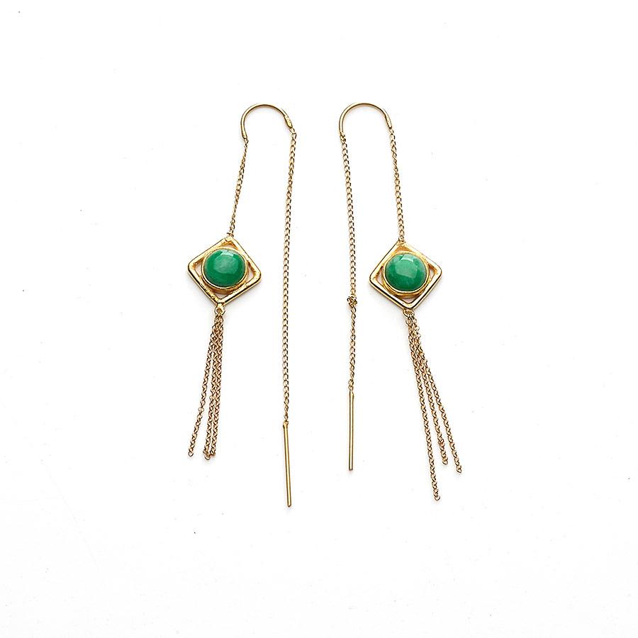 Boucles d'oreilles pendantes en vermeil et pierres de jade