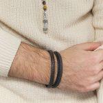 """Bracelet jonc bronze et cuir véritable """"Mix"""" small"""