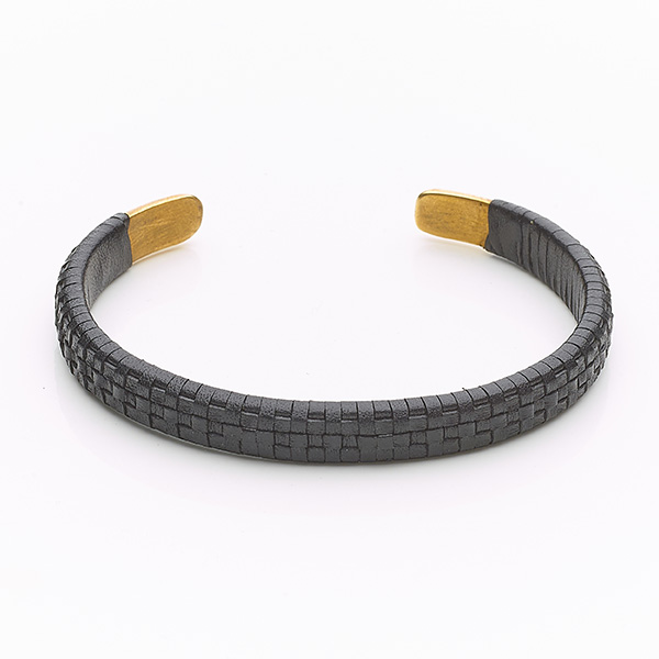 Bracelet cuir Paving noir perle de jade