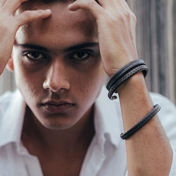 Bracelet en cuir pour Homme - Perle de Jade