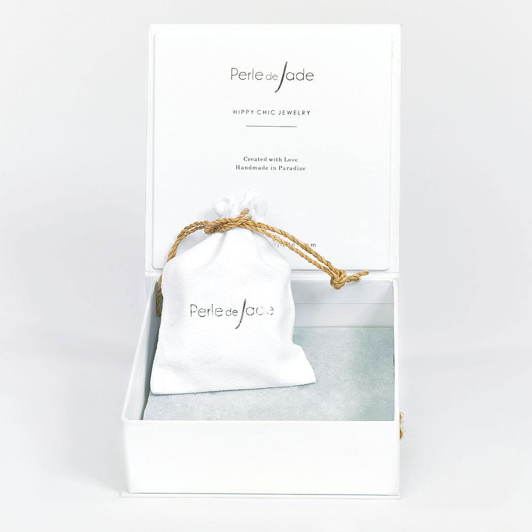 Superbe boite à bijoux blanche - Perle de Jade