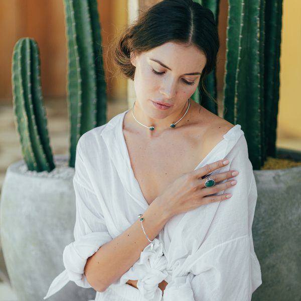 Bracelet jonc argent et perles de jade - Bijoux de créateur