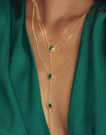 collier 3 niveaux en vermeil et jade