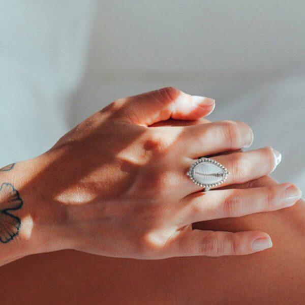 bague coquillage argent massif perle de jade